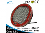 96W 9 inch red round LED work light bar