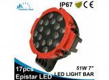 51W 7 inch red round LED work light bar